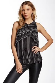 Vince Camuto Linear Stripe Crossed Layered Blouse