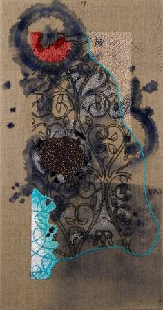 Karin Birch / Untitled, Embroidery on Painted Linen.