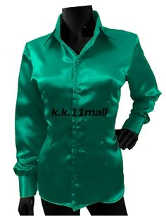 Casual Wear Button Down Shirt Mint Green Long Sleeve Shirt Blouse Top S81 #Unbranded #Basic #Casual Green Long Sleeve Shirt, Long Sleeve Wrap Top, Casual Office Wear, Casual Wear, The Office Shirts, Shirts For Girls, Mint Green Shirts, Shirt Collar Styles, Half Sleeve Shirts