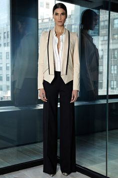 Look 16 Desert Stretch Twill Structured Blazer with Grosgrain Lapel, Natural White Crepe De Chine Blouse with Thread Embellished Sleeve Black Tropical Wool Wide Leg Pant Allie Black/White Snake Wedge Pump with Nickel Studs