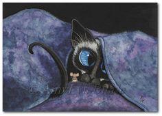 Siamese Cat Snug as a Bug  - Art Prints & ACEOs by Bihrle ck378