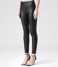 Womens Black Leather Leggings - Reiss Onyx | Were I an entirely different sort of person, I would so rock these