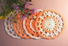 READY TO SHIP Set of 3 crochet mats Crochet by VerLenCrochet