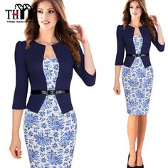 325a9690cc9 THYY Sleeve Dresses Suit Temperament Slim Fake Two Package hip Sexy Pencil  Dress 2017 Plus size