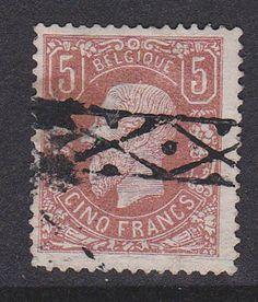 BELGIQUE 1878. N°37A, 5FR BRUN-PALE OBLITERATION  ROULETTE 925€  E12