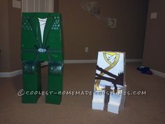"""I had an absolute blast this year making my son's costumes. At first when my oldest son asked me to make him a Lego ninjago I was like"""" I'm so in trouble"""". Lego Costume, Halloween Costumes, Arm Circles, Homemade Costumes, Duck Tape, Recycling Bins, Lego Ninjago, Best Mom, Halloween Decorations"""