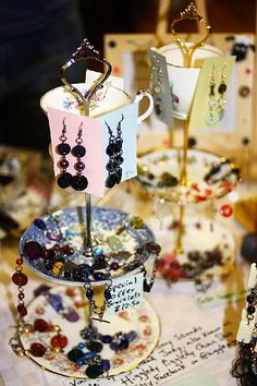 Some of my jewellery on my stall at Smithill's School Craft Fair, taken from their website...