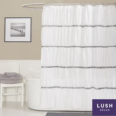 @Overstock - Made from high quality microfiber, this shower curtain really creates a glittering atmosphere for the bathroom and brings a little Hollywood right into the home. A soft rippling effect comes from rows of sequins set off by ruching the fabric.http://www.overstock.com/Bedding-Bath/Lush-Decor-Twinkle-White-Shower-Curtain/7720683/product.html?CID=214117 $34.99