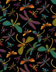 Animal Fabric - Metallic Dragonfly Toss Black - Timeless Treasures Yard