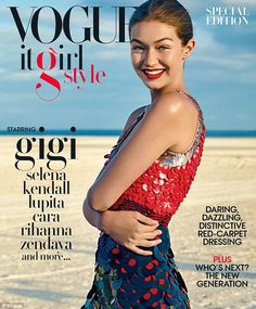 All-American: #GigiHadid looked absolutely stunning in a large sequined red and white dress design by Altuzarra (pice tag over £3120.17) on the cover of the #Vogue It Girl Style special edition