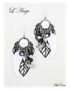 Boucles d'oreille noir et blanc fait main - Boucles d'oreille baroque ange par Milacréa : Boucles d'oreille par milacrea