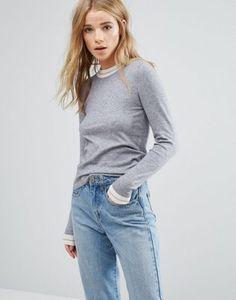 New Look – Langer Pullover mit Kontrastrand