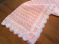 Crochet Baby Blanket Crib Size Heirloom Lace Boutique Quality Baby Afghan Soft Pink and White with Ribbon Trim - Direct Checkout by pegsyarncreations on Etsy