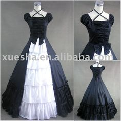 Black And White Victorian Dress