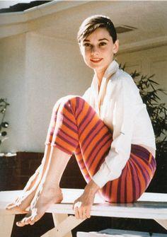 Multi-colored striped leggings? Oversized white shirt!