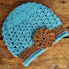 This is the hat pattern I use in several of my flowered hats. It is slightly slouchy, and going up a hook size will make it even slouchier.