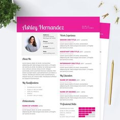 bright pink public relations resume cover letter references template package