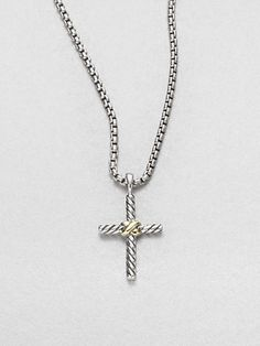 David Yurman * Sterling Silver & 14K Yellow Gold Cross Necklace #GiveSaks