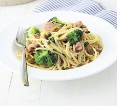 Lemon spaghetti with tuna & broccoli. 15 minutes is all you need to whip up this fresh, light and healthy fish pasta with olives, capers and greens Bbc Good Food Recipes, Cooking Recipes, Healthy Recipes, Atkins Recipes, Meatless Recipes, Bariatric Recipes, Quick Recipes, Delicious Recipes, Pasta With Olives