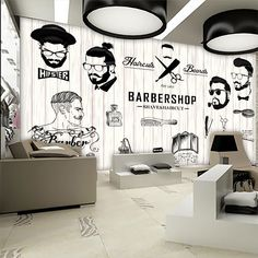Free Shipping 3D beauty barber mural salon barber shop fashion clothing shop supermarket backdrop Haircut poster wallpaper mural