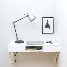 Urbansize Floating Desk With Drawers/small office/office ideas/small spaces/space saving ideas/desks/home office/work from home/ Floating Desk With Drawers, Floating Nightstand, Minimal Desk, White Stool, Wall Mounted Desk, Oak Desk, Home Office Desks, Small Spaces, Small Desks
