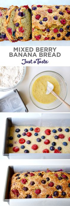 Mixed Berry Banana Bread | #recipe via justataste.com #bread