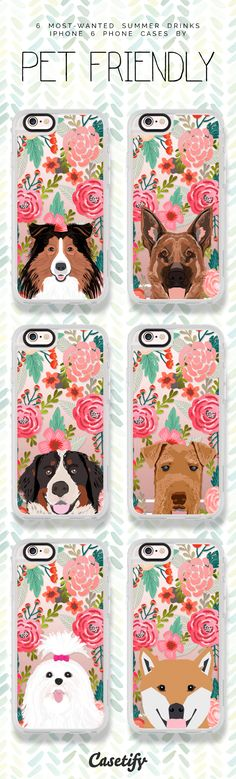 All time favourite dogs iPhone 6 phone case designs | Click through to see more animal protective see through iPhone phone case ideas >>> https://www.casetify.com/petfriendly/collection #floral | @casetify