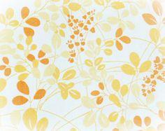 Vintage 60s Mod Leaf Branch Pattern Full Flat Bed Sheet Peach Orange - PaddywhackKnickKnack