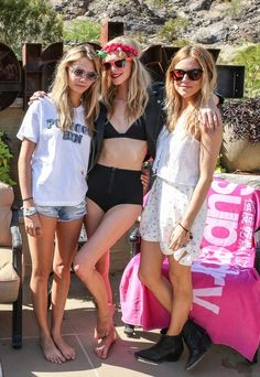 Cara, Poppy Delevingne and Sienna Miller  at The Superdry 2014 Coachella Brunch.