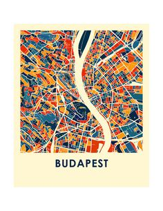 Budapest Map Print Full Color Map Poster by iLikeMaps on Etsy 8x11 $22 24x36 $150 - Also have a Melbourne Map