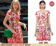 Red and white floral printed dress with green bag and shoes Taylor Swift Style, Green Bag, Red And White, Victoria, Style Inspiration, Summer Dresses, Printed, Floral, How To Wear