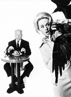 """Alfred Hitchcock & Tippi Hedren - Publicity Shot for """"The Birds"""" 1963"""