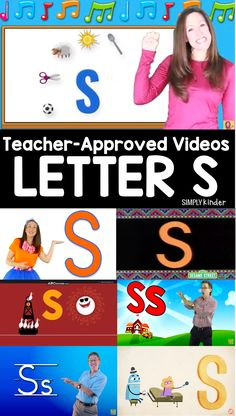 Teacher-Approved Videos Letter S - Simply Kinder Abc Learning Videos, Early Learning, Kids Learning, Letter S Activities, Preschool Letters, Letter To Teacher, Teaching The Alphabet, Have Fun Teaching, Help Teaching
