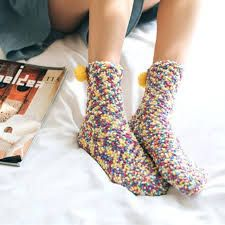 Active 9 Color Style Winter Women Funny Thick Wool Socks Rainbow Ladies Cute Socks Art Female Kawaii Cotton Warm Socks With Hair Ball Selling Well All Over The World Women's Socks & Hosiery
