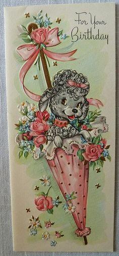 Vintage Birthday Card-Poodle by MissConduct*, via Flickr