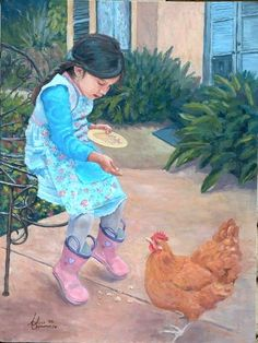 Resultado de imagen para girl with hen