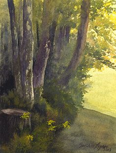 """Edge of the Woods by Susan Lynn Watercolor ~ 8"""" x 6"""""""