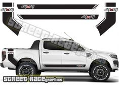 Ford ' side racing stripe graphics, for the cab and rear tub. This graphics kit will fit all versions of the Ford This is a 2 colour decal kit, the standard colours are: MAIN COLOUR: black SECOND COLOUR: red Graphics are Ford Ranger, Ranger Car, Car Stickers, Car Decals, Drift Trike, Racing Stripes, Toyota Hilux, Sidecar, Car Wrap