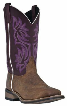 c7edae03c233 Laredo Fancy Stitched Purple Cowgirl Boots - Square Toe - Sheplers Santiag,  Chaussure, Bottes
