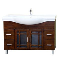 Bellaterra Home Medium Walnut Integral Single Sink Bathroom Vanity with Vitreous China Top (Common: 48-in x 18-in; Actual: 48-in x 18.9-in)