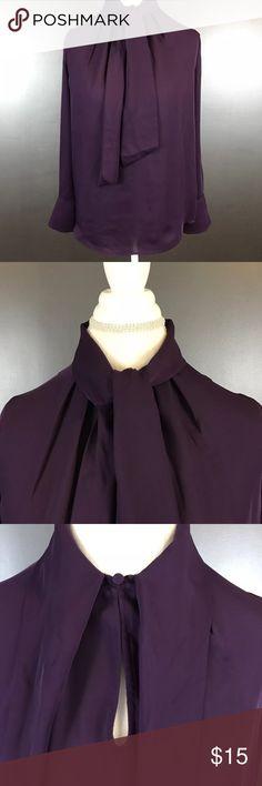 H&M Front Tie Keyhole Blouse Size 10 Women's size 10 purple H&M sheer, long sleeve front tie, keyhole blouse. 100% polyester. H&M Tops Blouses