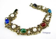 (SOLD) Bracelet Victorian Revival Faux Stone and Pearl by Vintage55