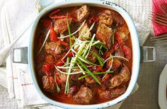This hearty yet healthy red pepper and pork stew makes for a tasty main that will fuel the family. Cooking low and slow lets the Asian flavours infuse and gives pork that is gorgeously tender.