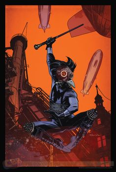 February 2014 DC Goes Steampunk: Nightwing variant by Tommy Lee Edwards Dc Comic Books, Comic Book Covers, Comic Art, Darkhorse Comics, Dc Comics, Funny Comics, Nightwing And Starfire, Batman And Superman, Book Cover Art