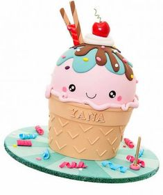 Ice cream cup shaped cake