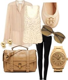 cream neutral outfit idea. tory burch flats, gold watch, sequin tank, and gold earrings