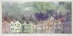 """Paul Klee 'Häuser an der Peripherie'(Houses on the Outskirts) 1913 Pen and ink and watercolor 3.7 x 7.9"""""""