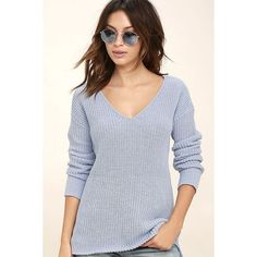 BB Dakota Barlow Light Blue Sweater ($79) ❤ liked on Polyvore featuring tops, sweaters, blue, blue v neck sweater, oversize sweater, v neck sweater, bb dakota sweater and oversized v neck sweater