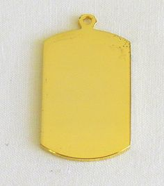 Vintage Gold Tone metal pendant Rectangle by antiqueandsupplies1