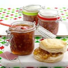 Caramel Apple Jam. Made today and turned out very good. Used honey crisp apples and put a scant 1/2 tsp of lemon juice in each jar before filling. Definetely will pass this receipe on.